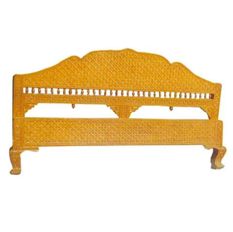 Carving With Color Headboard For Double Bed
