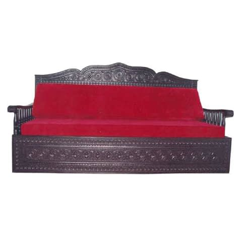 Wooden Carved Bed With Cushion