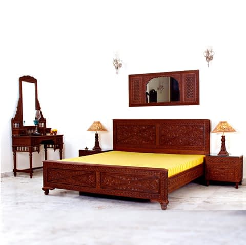 Wooden Carved Headboard With Bed and Side Tables