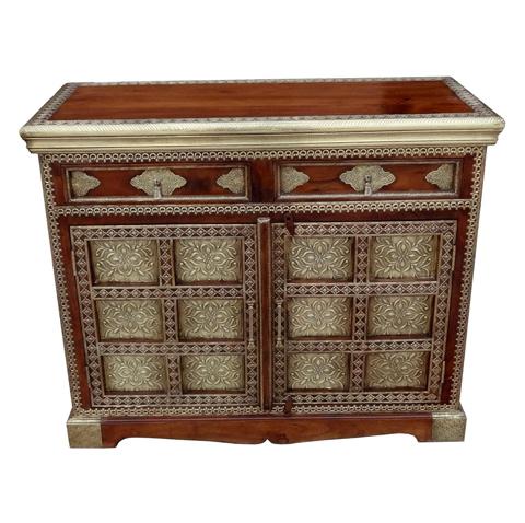 Ethnic Wooden Brass Chest Of Drawer
