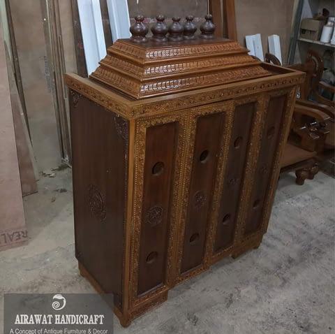 wooden temple with door