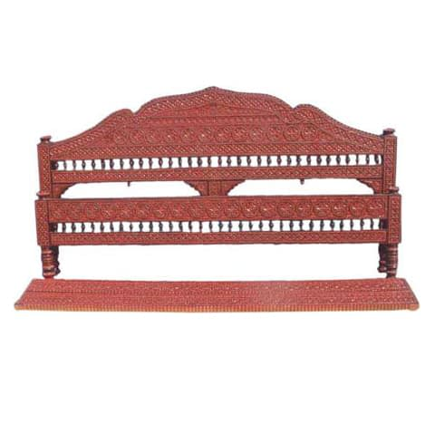 Traditional Carved Teak Wood Headboard For Double Bed