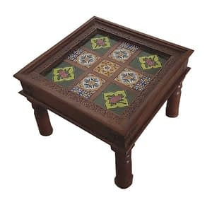 Short Wooden Stool With Tile Fit Design