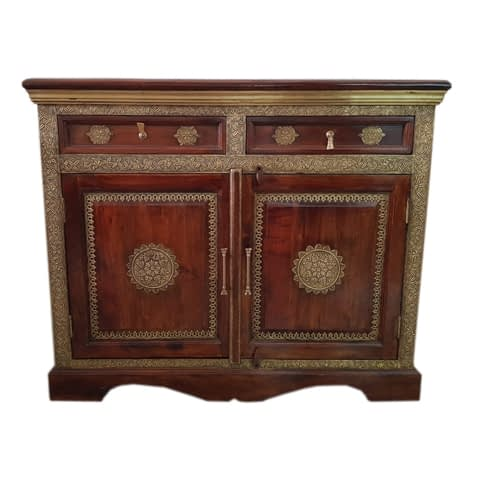 Wooden Cabinet With Brass Fit Finish
