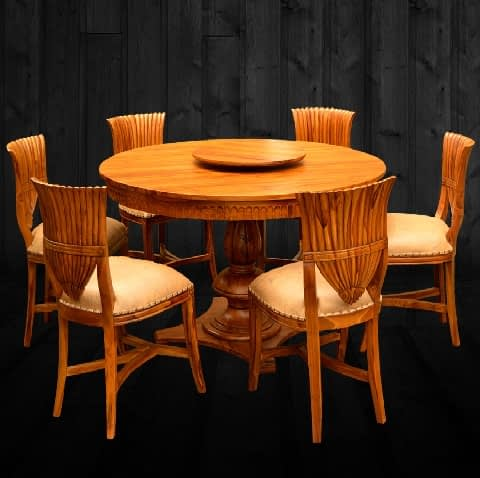 Dining Sets Round Carving Dining Table Teak Wood Airawat Handicraft