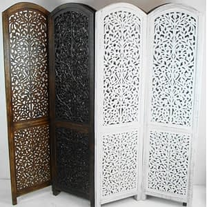 Carved Room Divider Two Panel