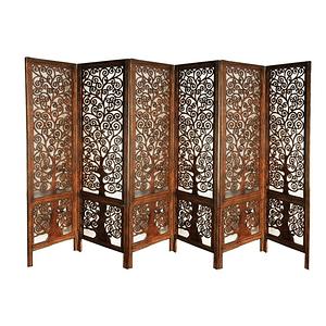 Short Wooden Carved Room Divider