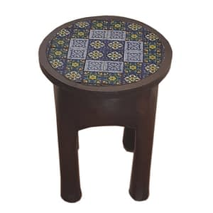 Tile Fitted Circle Shaped Single Stool