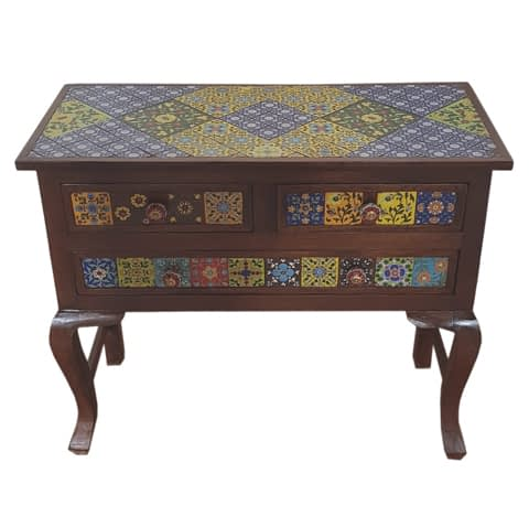 Tile Fit Table With 4 Drawer