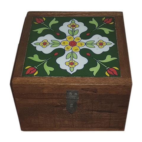 Wooden Treasure Box With Tile Fir Design