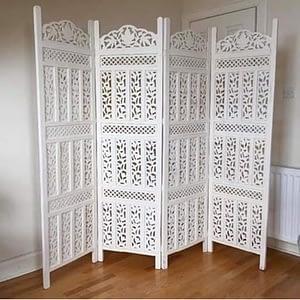 Wooden Room Divider 4 Panels White